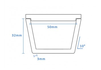 Boron Nitride Tapered Crucible (50mm D x 32mm H)