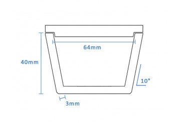 Boron Nitride Tapered Crucible (64mm D x 40mm H)