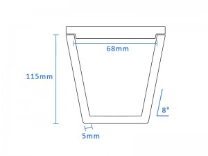 Boron Nitride Tapered Crucible (68mm D x 112mm H)